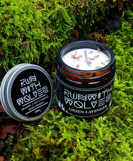 Buy Green Lavender candle60ml by Run with Wolves from Kin & Co Abersoc