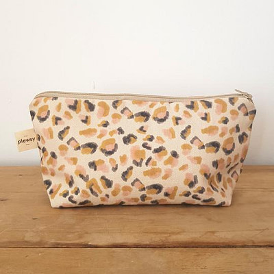 Plewsy Leopard Print Cotton Cosmetic Bag