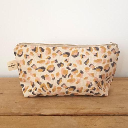 Plewsy Leopard Print Cotton Cosmetic Bag