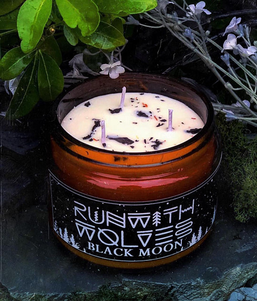 Buy Black Moon candle500ml by Run with Wolves from Kin & Co Abersoch