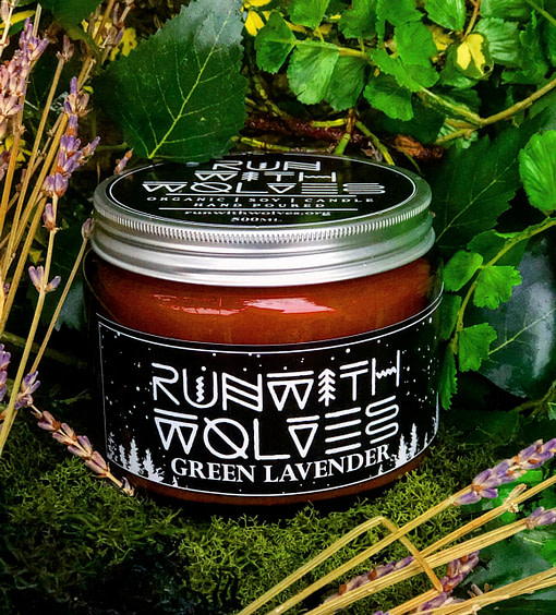 Buy Green Lavender 500ml candleby Run with Wolves from Kin & Co Abersoch