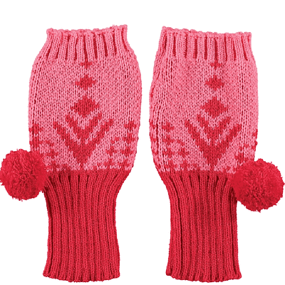 pink alpine fingerless gloves