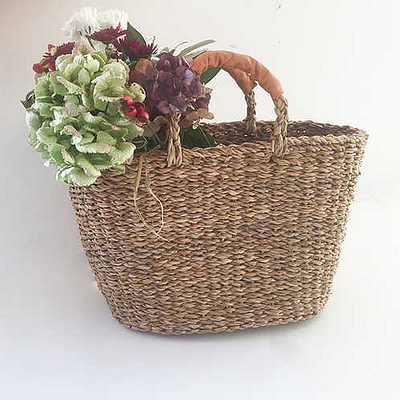 Buy the Turtle BagsLeather Handled Seagrass Basket from Kin & Co, Abersoch