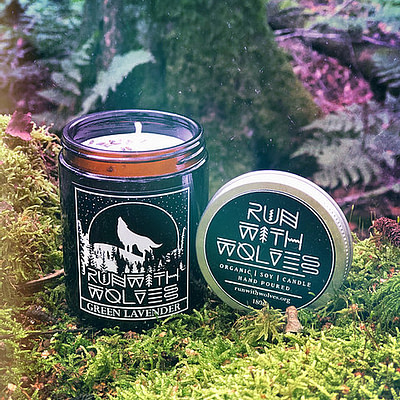 Buy Green Lavender candle by Run with Wolves from Kin & Co Abersoch