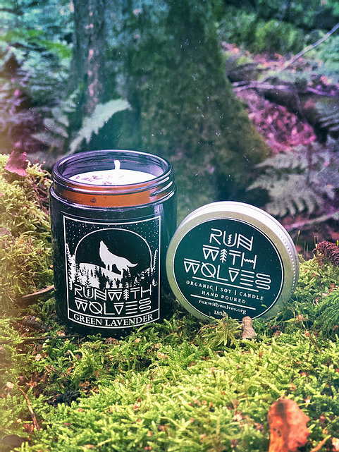 Buy Green Lavender candleby Run with Wolves from Kin & Co Abersoch