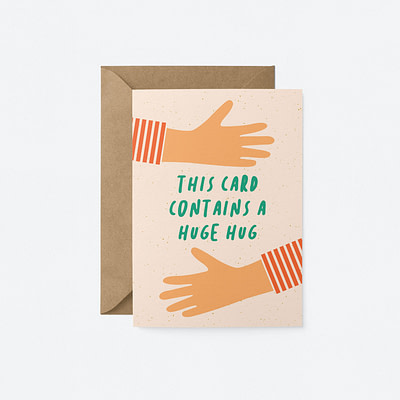 this card contains a hug