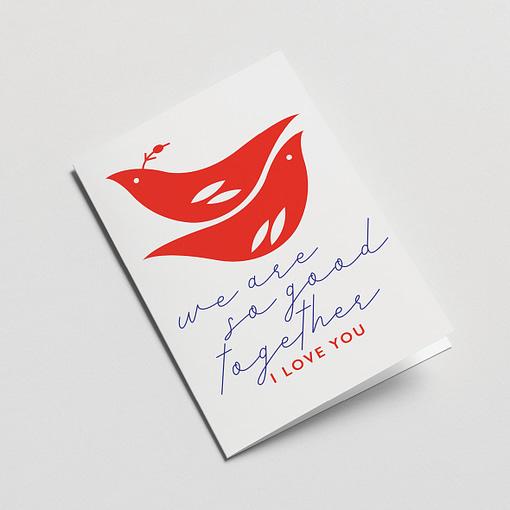 valentines card messenger birds