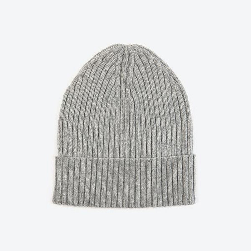 Miss Pom Pom, Grey Wool Ribbed Beanie