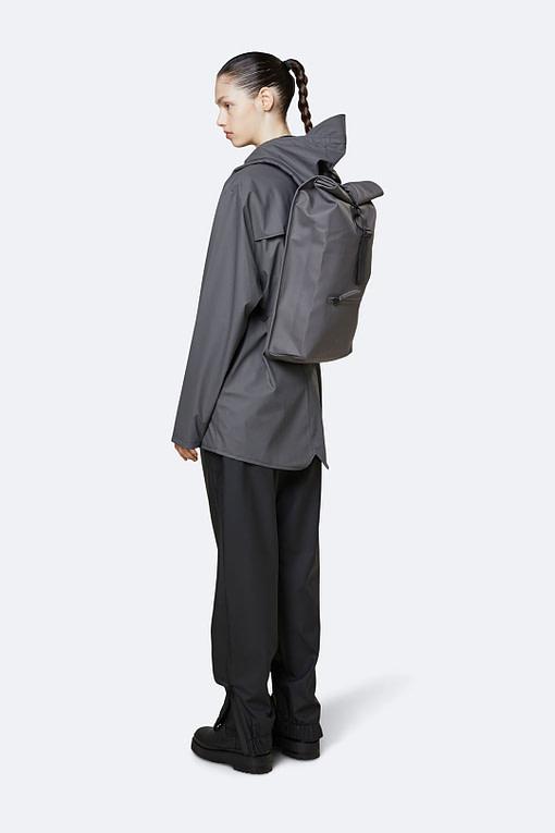 rains roll top rucksack charcoal